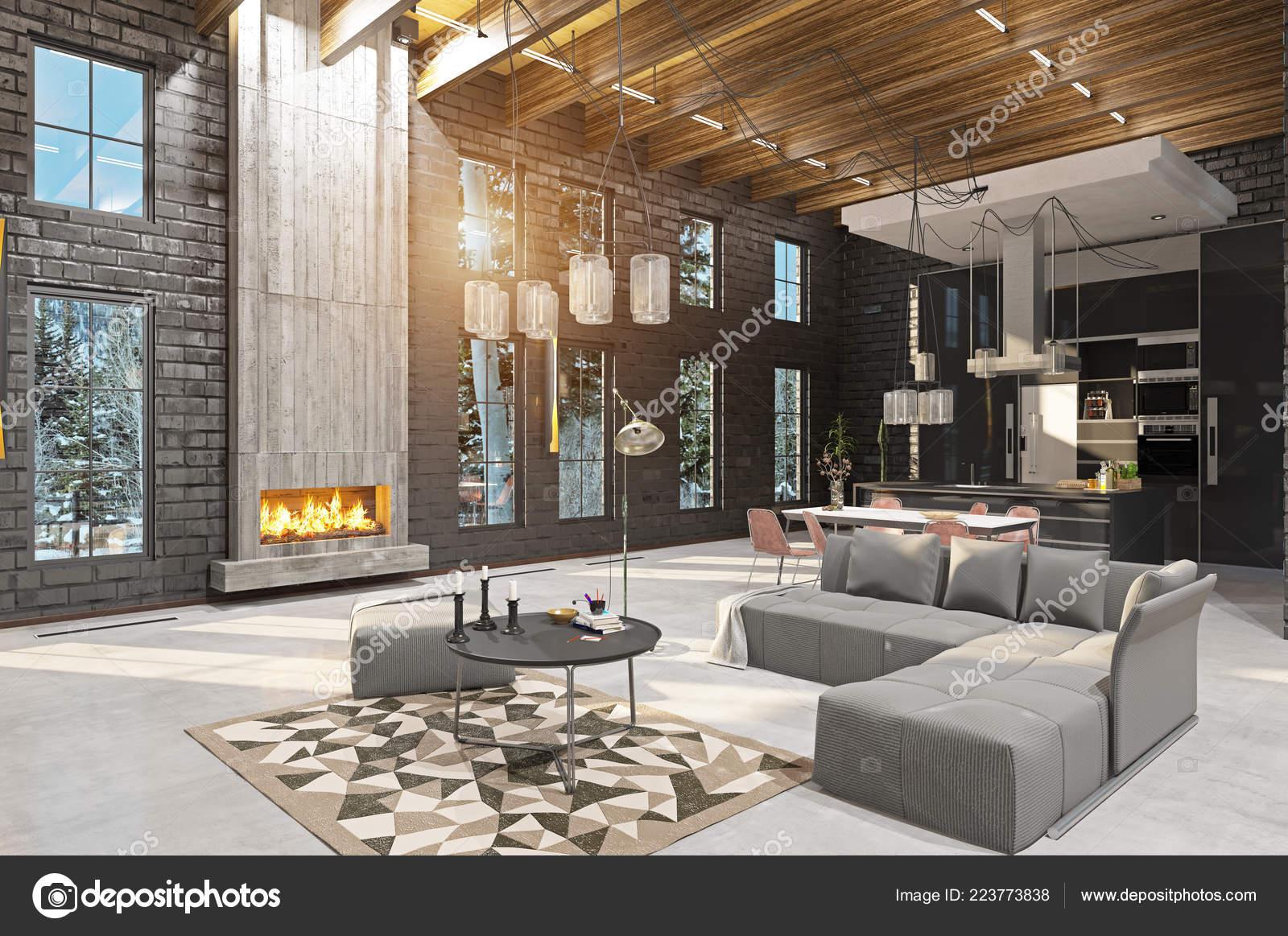 Int rieur maison luxe avec chemin e concept design rendu photographie vicnt2815 223773838 - Cheminee interieur maison ...
