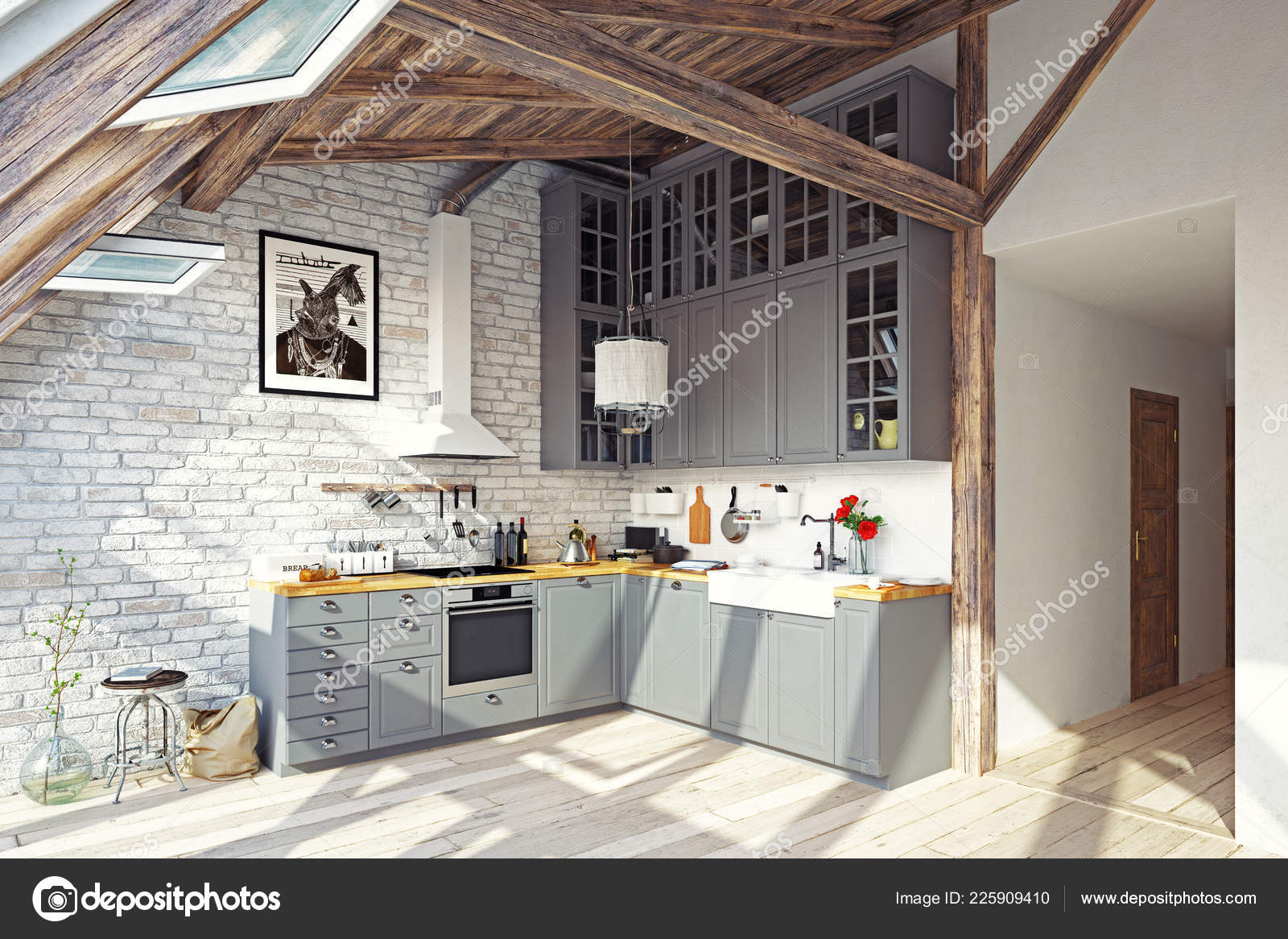 Modern Attic Kitchen Interior Rendering Design Concept
