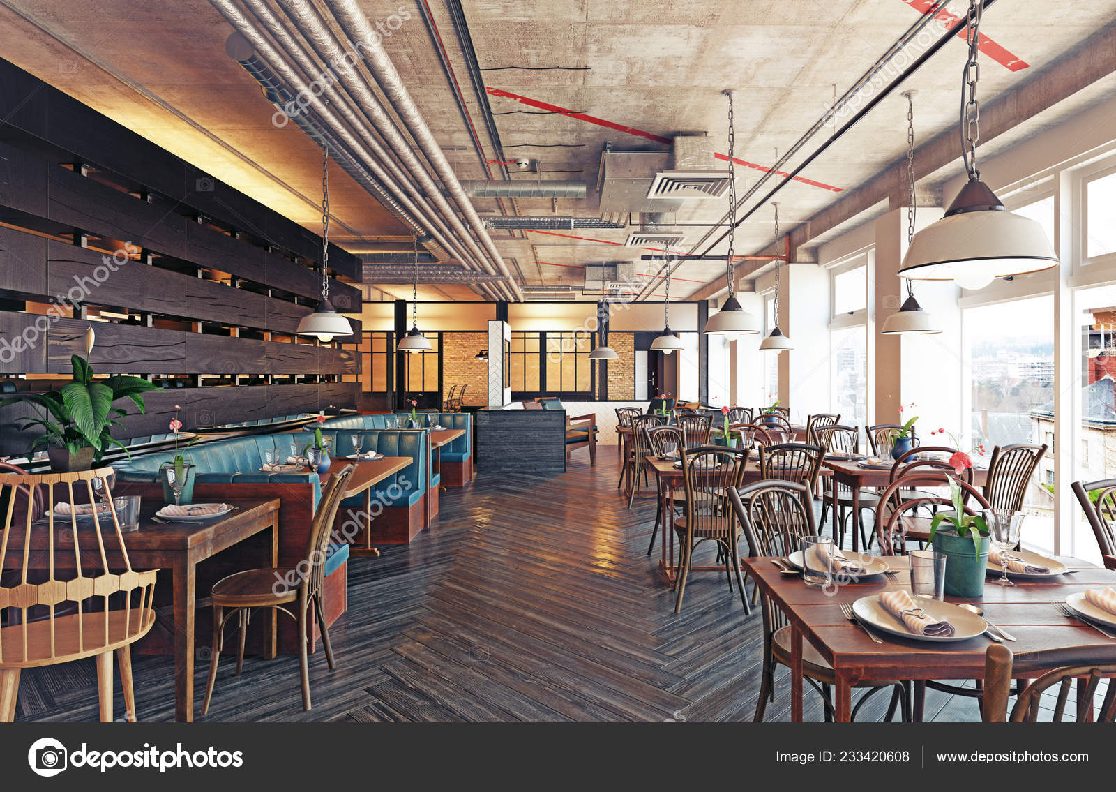 Modern Restaurant Interior Design Rendering Concept Stock Photo C Vicnt2815 233420608