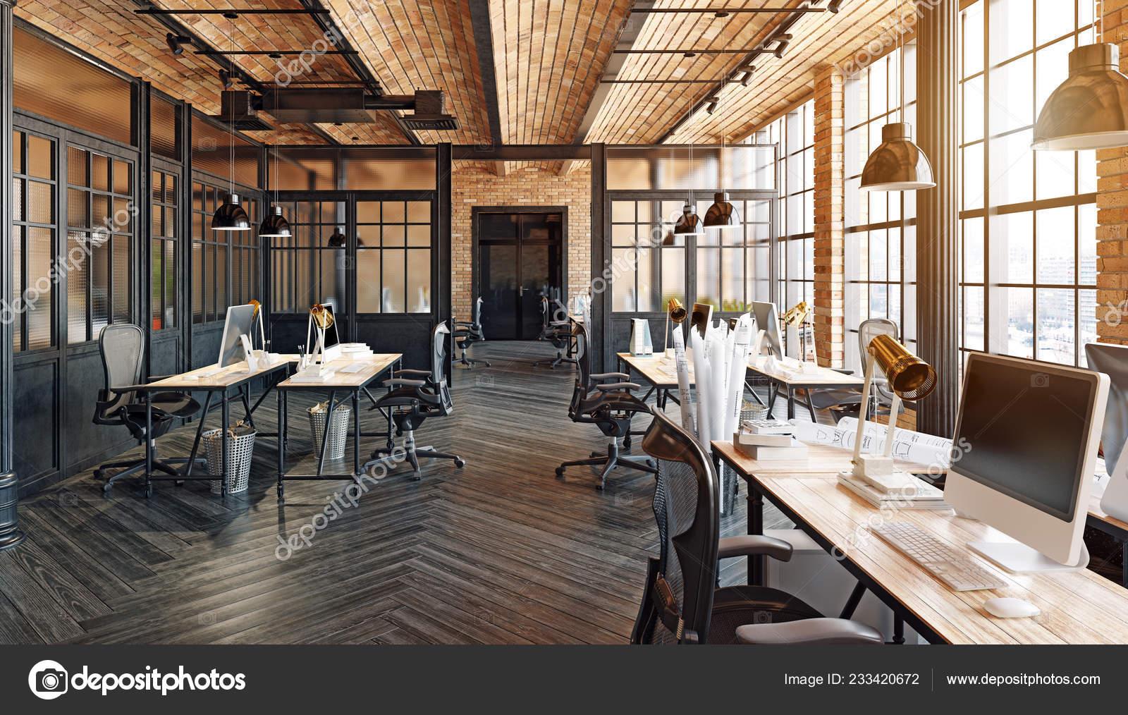 Dise o interiores oficinas modernas render concepto loft for Oficinas enterprise