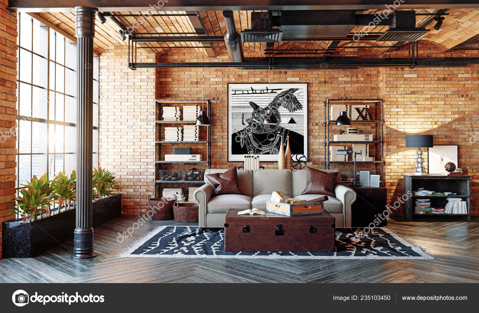 Modern Loft Living Room Interior Living Design Style Rendering Stock Photo C Vicnt2815 235103450