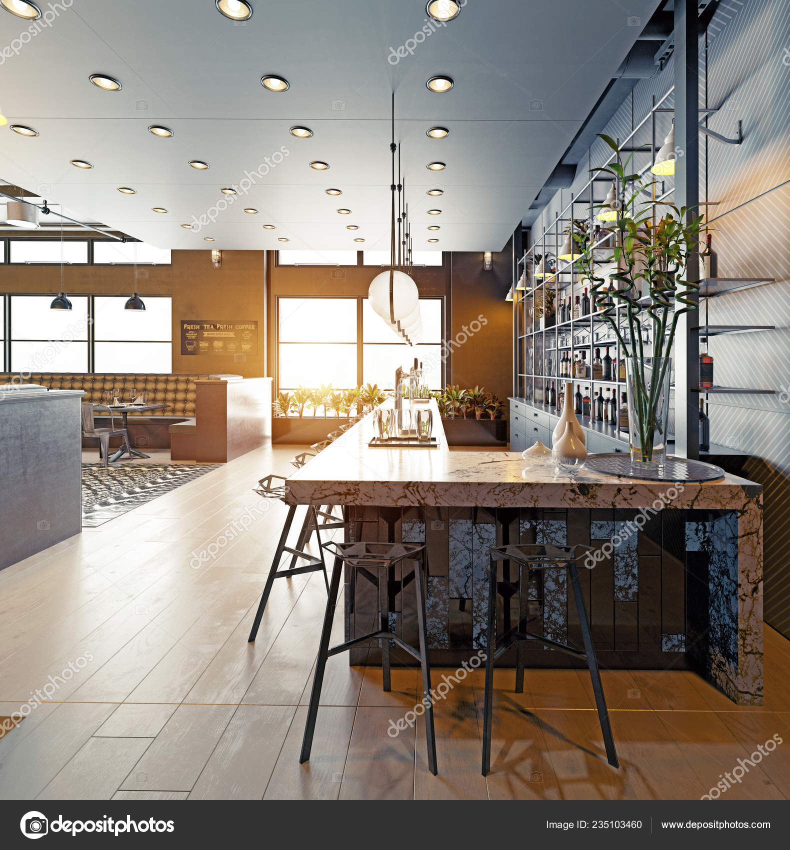 Modern Restaurant Interior Design Rendering Concept Stock Photo C Vicnt2815 235103460