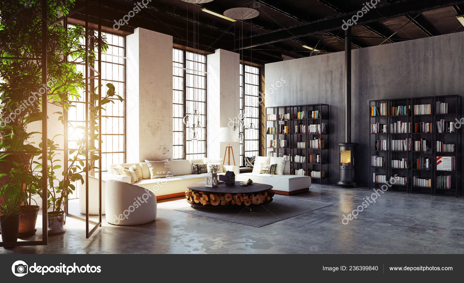 Beautiful House Interior Design In The Philippines Modern Loft Living Room Interior Rendering Design Concept Stock Photo C Vicnt2815 236399840