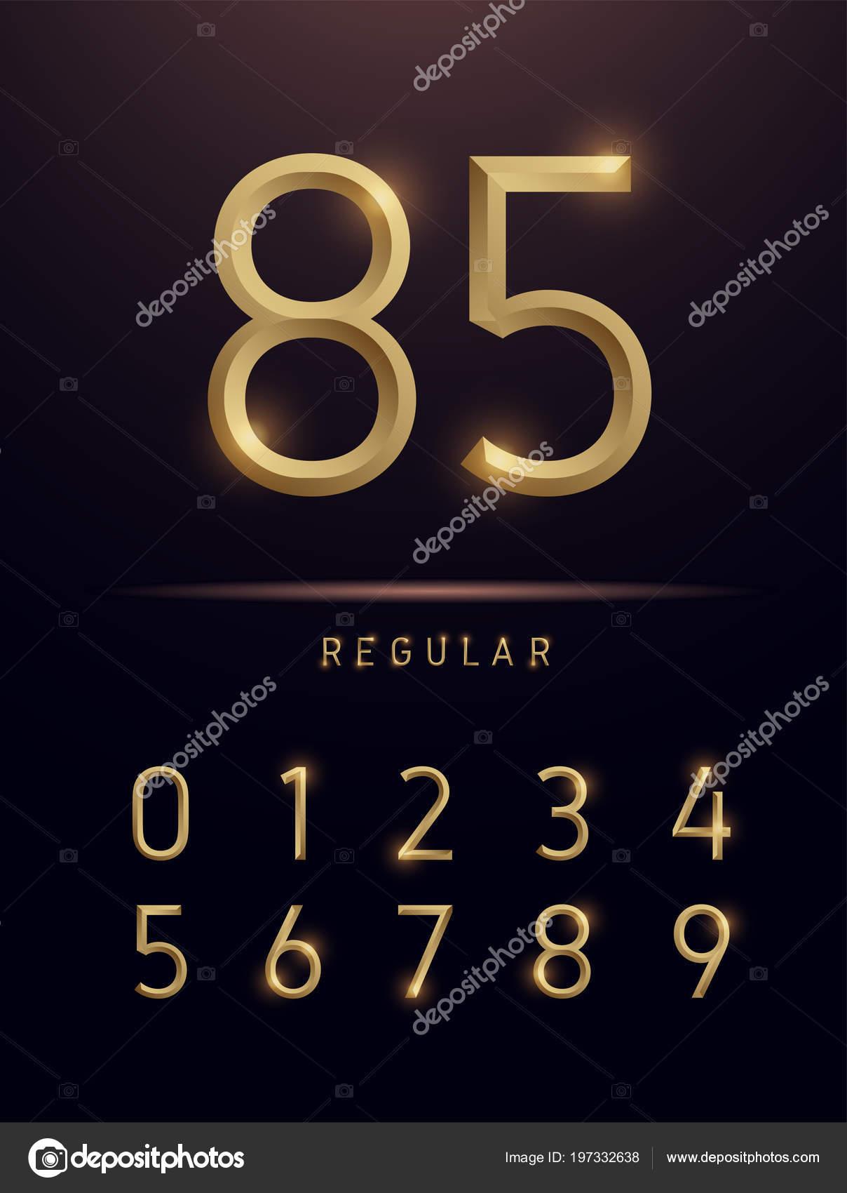 Gold foil font illustrator | Numbers Alphabet Golden