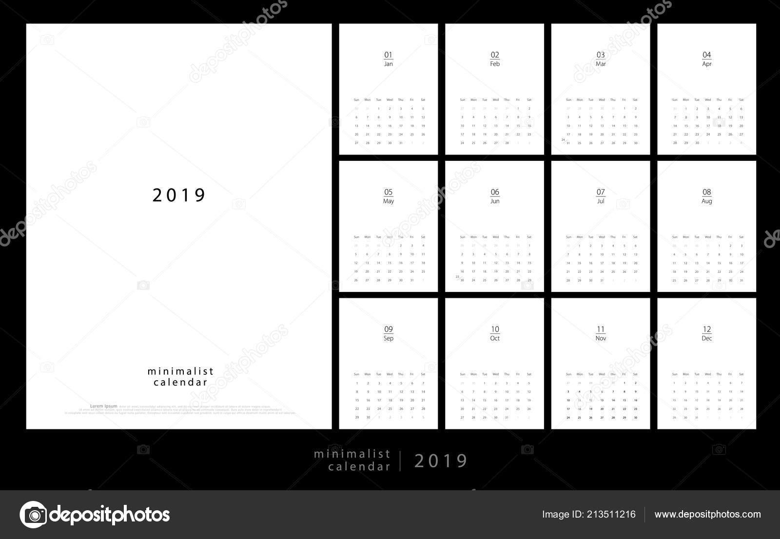 cebcf811dbb9a Calendario 2019 Moderno Estilo Minimalista Conjunto Escritorio Calendario  Páginas Calendario — Archivo Imágenes Vectoriales