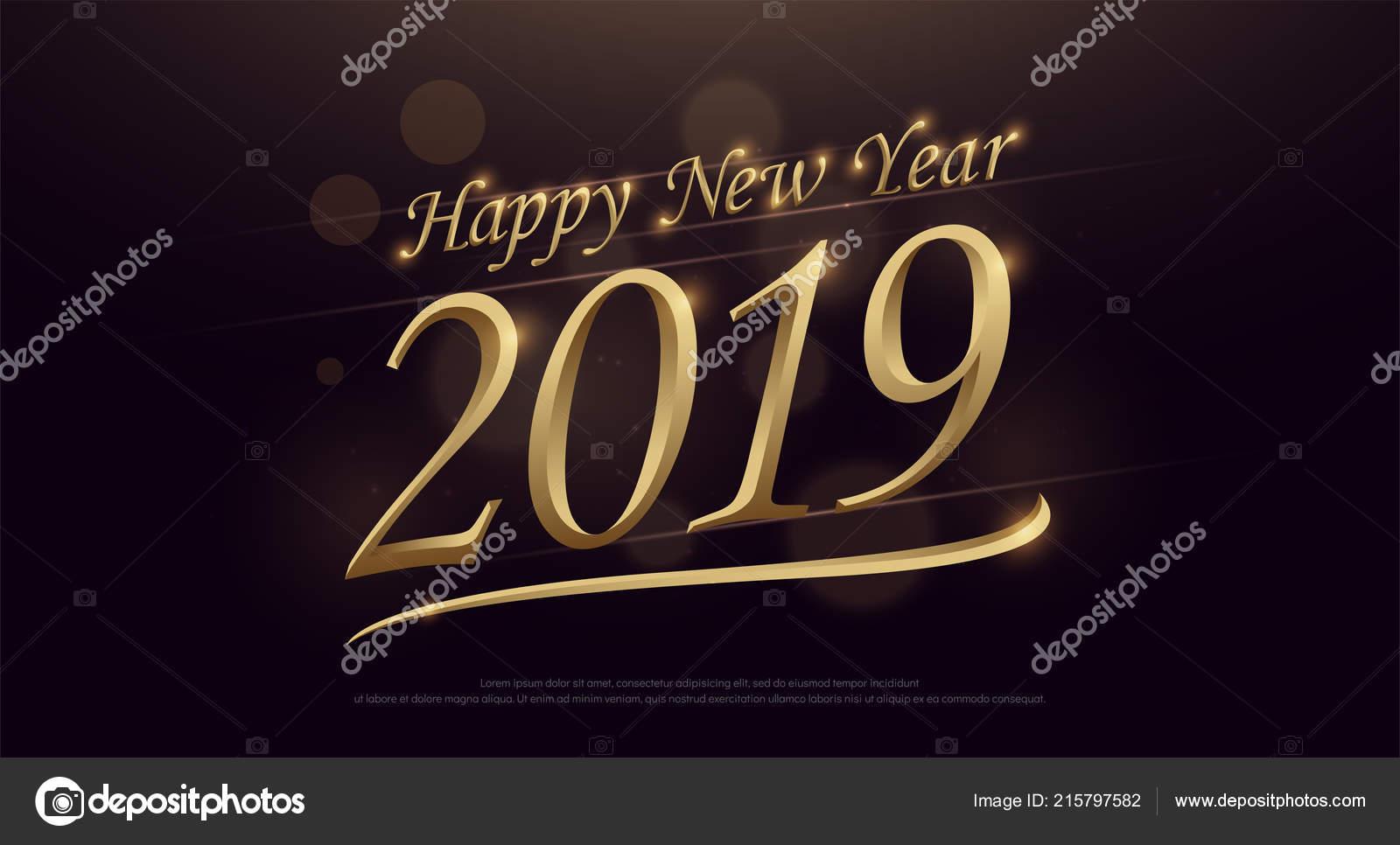 2019 Happy New Year Golden Typography Logo Dark Gold