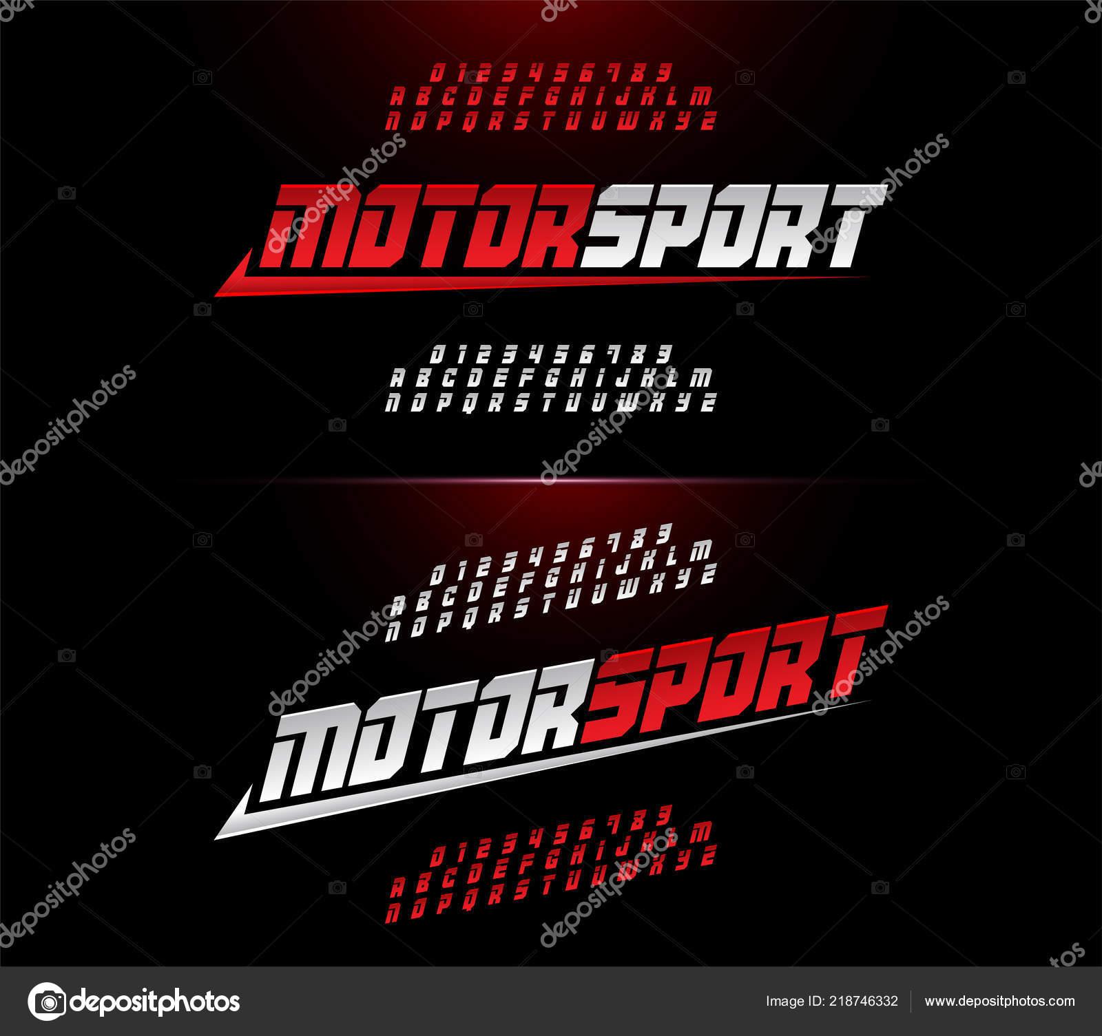 Sport modern alphabet number fonts motor sport racing typography italic stock vector