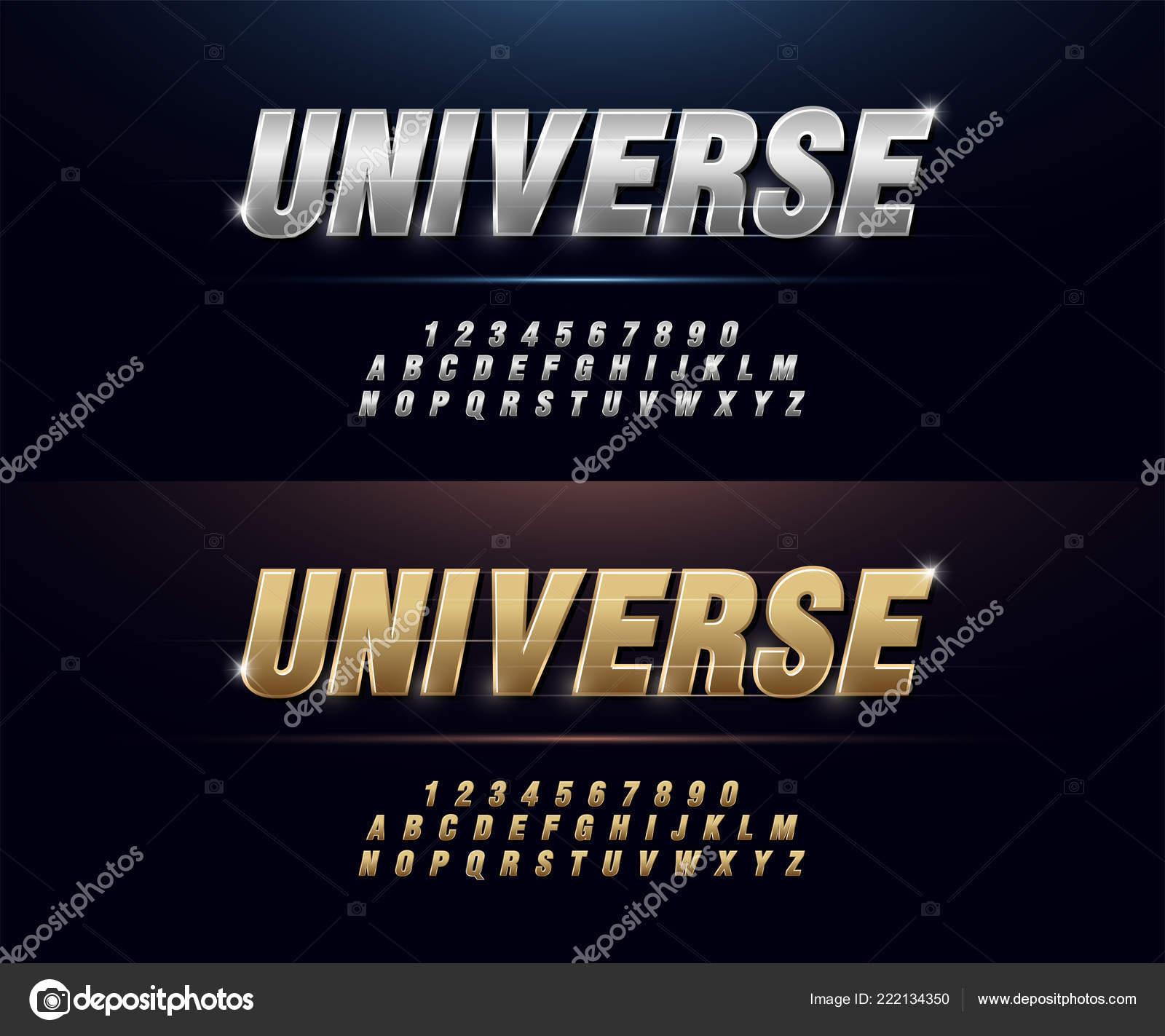 Elegant Silver Golden Colored Metal Chrome Alphabet Font Typography