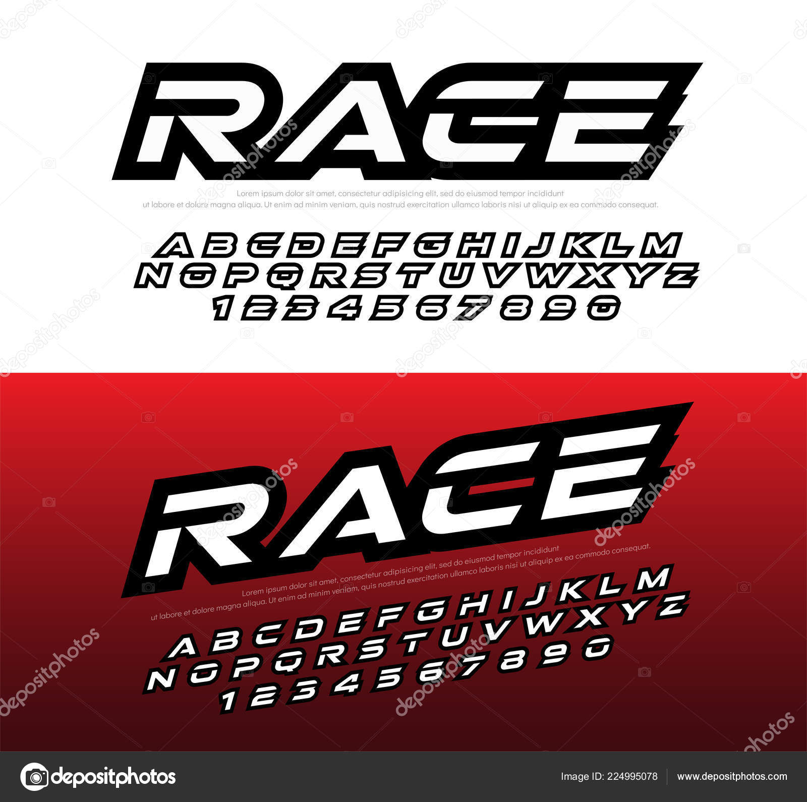 Sport modern alphabet number fonts racing typography italic font uppercase stock vector