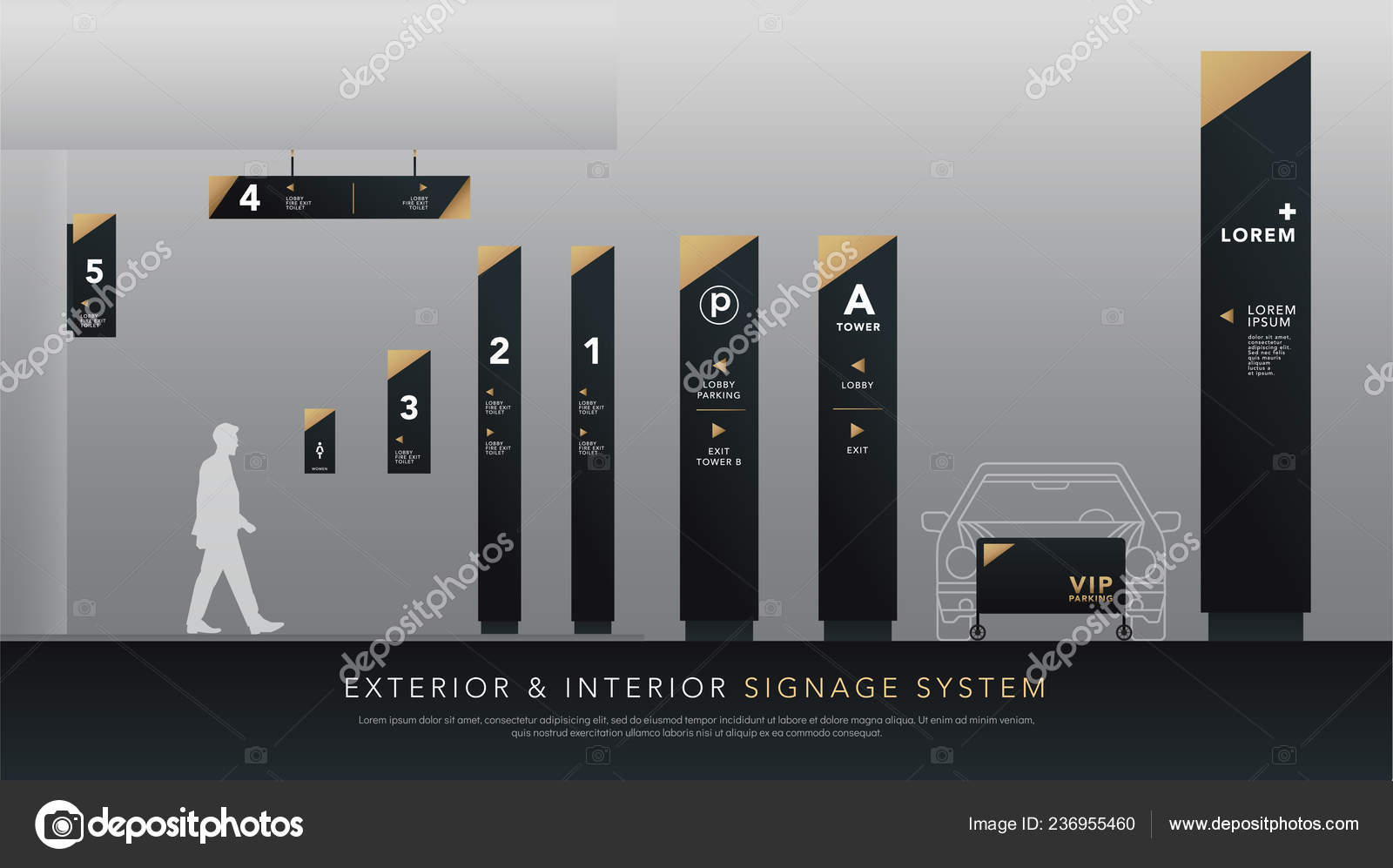 Exterior Interior Signage System Direction Pole Wall Mount