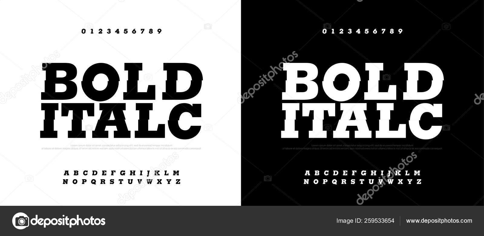 Typography Bold Italic Font Set Modern Bold Font Alphabet Typography