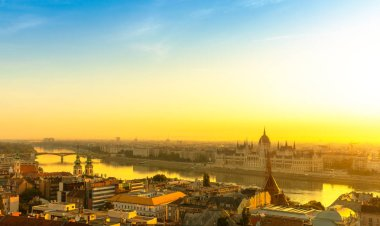 Panorama of Budapest by morning golden hour