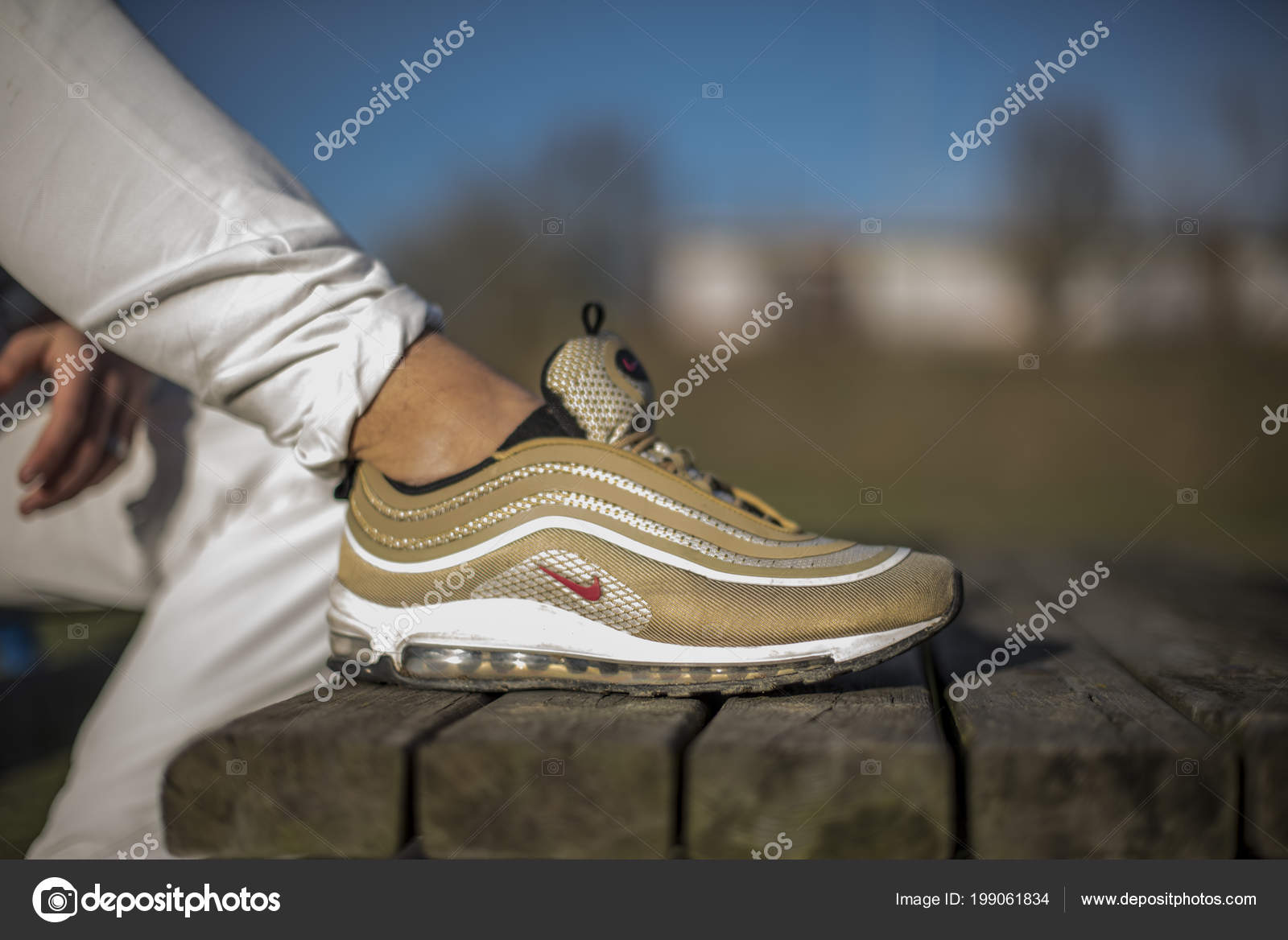 Pavia Italy December 2017 Nike Air Max Gold Shoes Street