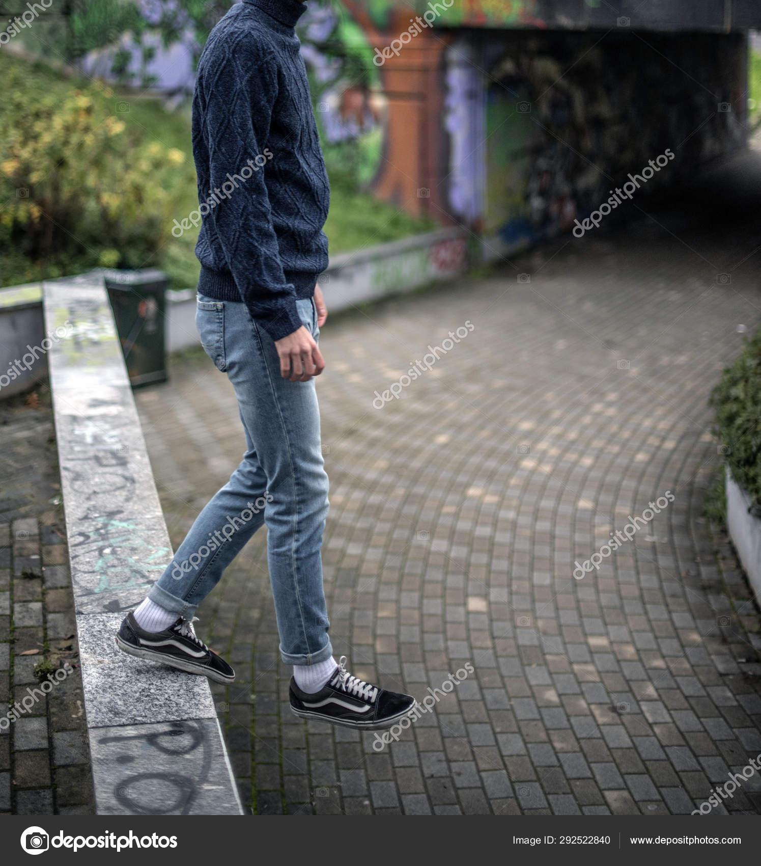man wearing vans