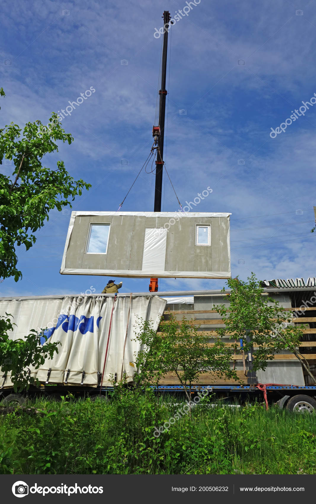 Mobile Crane Lifts Wall Panel Home Stock Photo Ra3rn 200506232