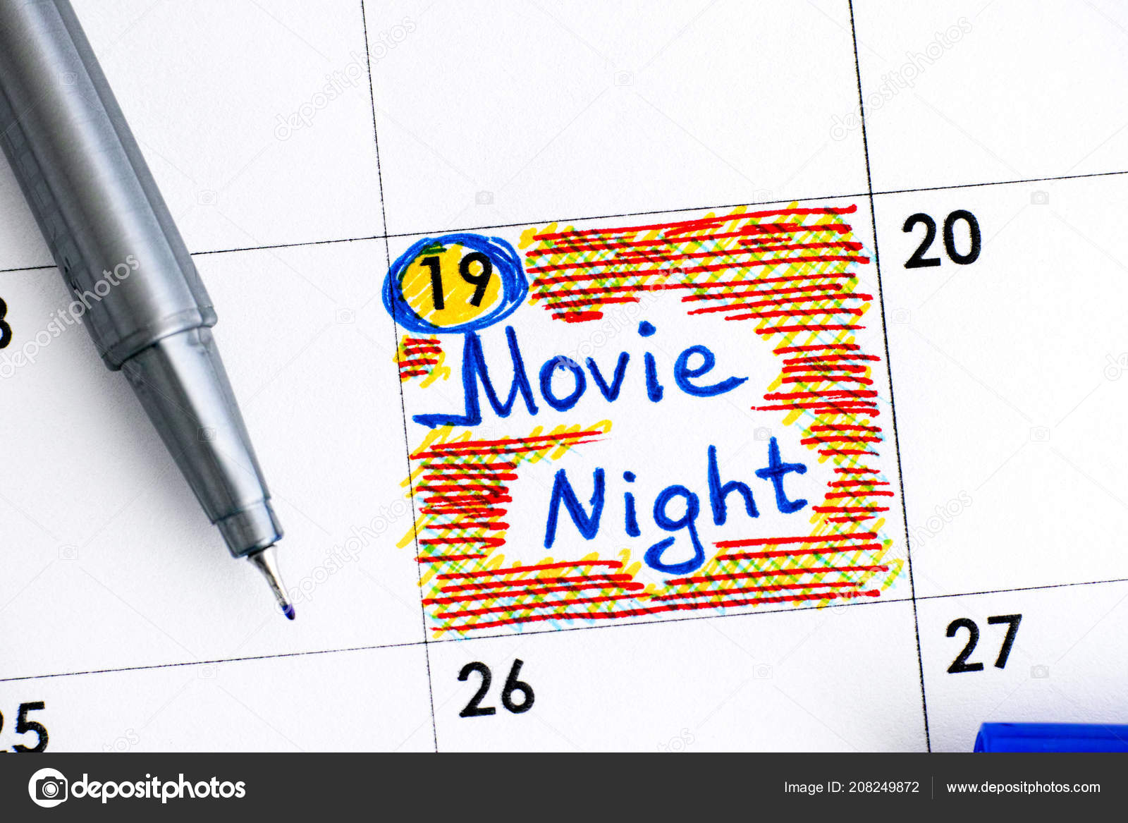 Reminder Movie Night Calendar Blue Pen Close Stock Photo