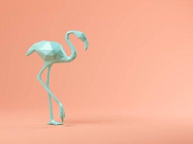 Blue flamingo on pink background 3D illustration