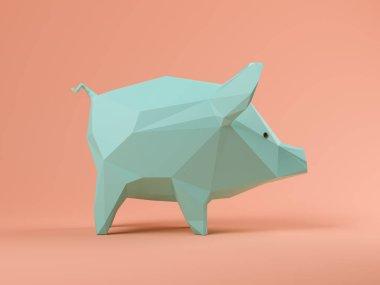 Blue pig on pink background 3D illustration