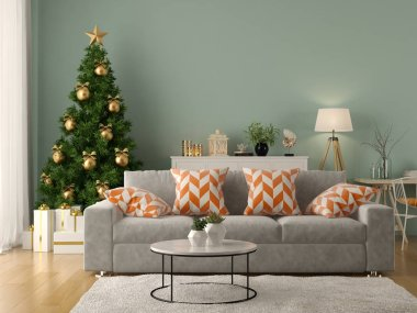 Interior of modern living room with christmas tree 3 D rendering