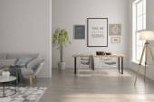 Fotografie Innere des modernen Wohnzimmer mit Sofa und Möbel 3D-Rendering