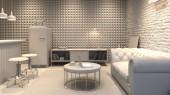 Fotografie Innere des modernen Menschen Wohn-und Esszimmer mit bar 3-D-rendering