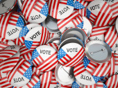 Photo American vote buttons. USA Election 2020