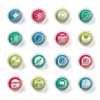 Stylized Mobile phone  performance, internet and office icons over colored background - vector Icon Set