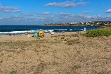 SOZOPOL, BULGARIA - JULY 13, 2016: Panoramic view of Harmanite Beach in Sozopol, Burgas Region, Bulgaria