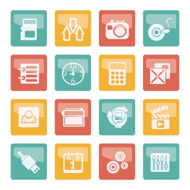 Phone performance, internet and office icons over colored background - vector icon set