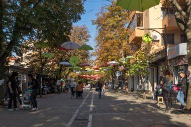 BLAGOEVGRAD, BULGARIA - OCTOBER 6, 2018: The Center and Pedestrian street covered with Umbrellas in town of Blagoevgrad, Bulgaria