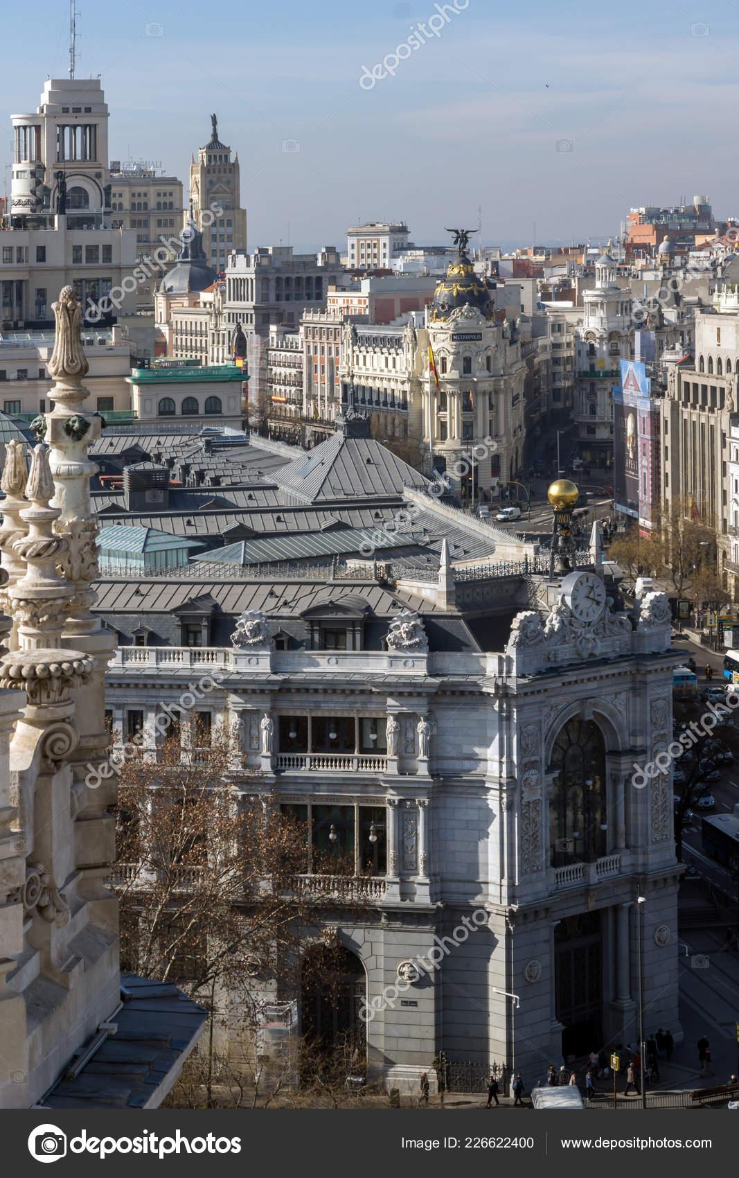 Madrid Spain January 2018 View Terrace Cybele Palace Palacio