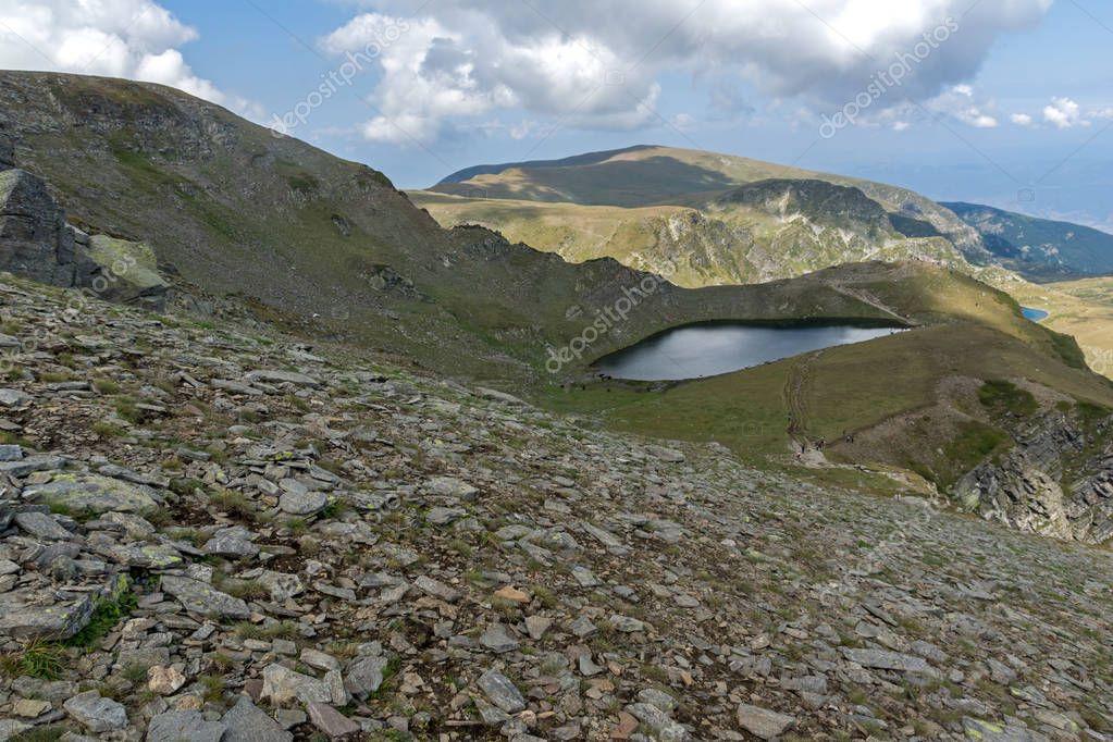 Summer view of The Tear lake, Rila Mountain, The Seven Rila Lakes, Bulgaria