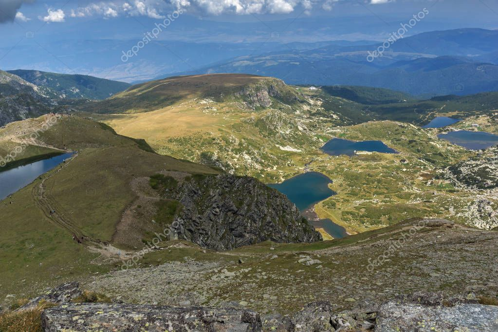Summer view of  The Tear, The Twin, The Trefoil, The Fish and The Lower lakes, Rila Mountain, The Seven Rila Lakes, Bulgaria
