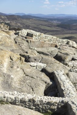 PERPERIKON, BULGARIA - MARCH 17, 2019: Ruins of Ancient sanctuary city of Perperikon, Kardzhali Region, Bulgaria