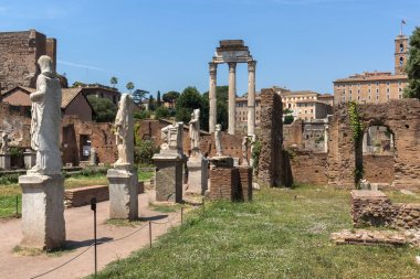 Ruins of Roman Forum in city of Rome, Italy