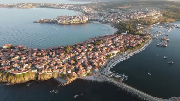 Amazing Aerial sunset view of old town of Sozopol, Burgas Region, Bulgaria