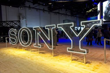 Las Vegas, NV, USA, Jan. 8. 2019: The Sony Corp. exhibit at 2019 CES features innovations in a wide range of rpoducts from Play-Stations, to cameras and camcorders to acoustic headphones and ultra high-definition 8k television.