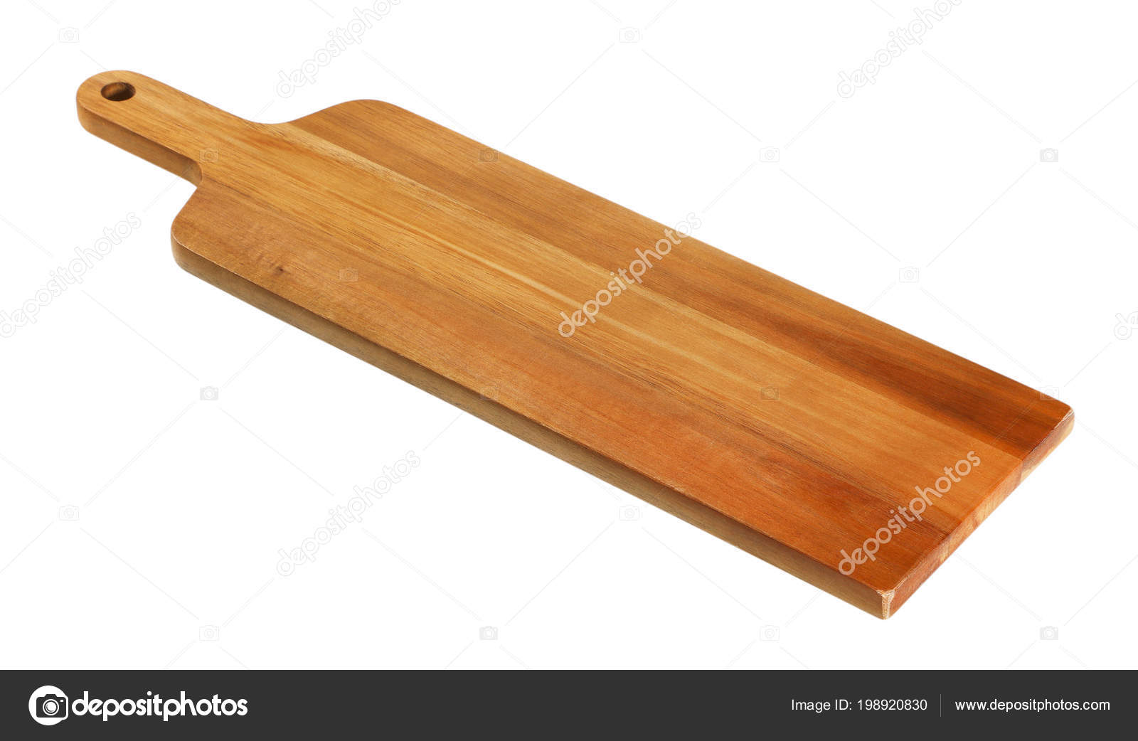Narrow Wooden Cutting Board Handle White Background Stock Photo C Ajafoto 198920830