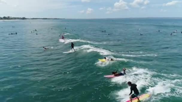 Ocean. People. Surfing. Water. Nature. Sunrise. Spain. Aerials. 4k. Drone