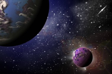 Planets in space in the star sky of flash, light