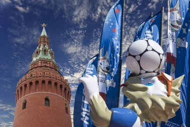 MOSCOW, RUSSIA  JUNE15, 2018: Wolf Zabivaka and Welcome flags in honour of the 2018 FIFA World Cup in Russia