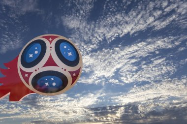 MOSCOW, RUSSIA  JUNE15, 2018: Great symbolic soccer ball with Symbols of the FIFA World Cup 2018 in Russia. Moscow
