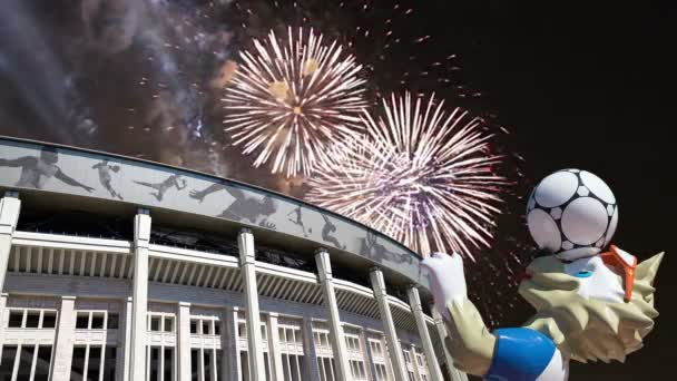 MOSCOW, RUSSIA  AUGUST 10, 2018: Fireworks over the Official mascot of the 2018 FIFA World Cup in Russia-- wolf Zabivaka and Luzhniki Olympic Complex -- Stadium for the 2018 FIFA World Cup. Moscow