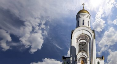 Church of St. George on Poklonnaya hill, Moscow, Russia. The church was built in 1995. Christ is Risen, Eternal memory of those who died in the great Patriotic warinscription in Russian