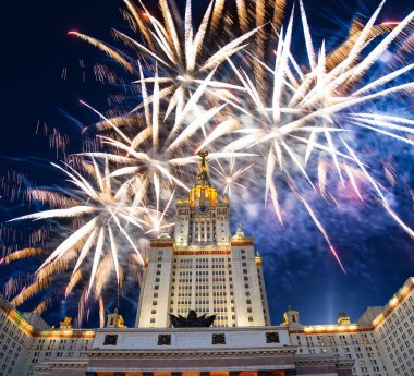 Celebratory colorful fireworks exploding in the skies.