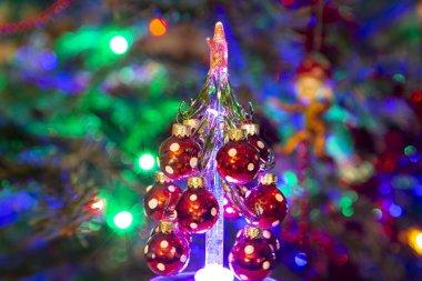 Beautiful christmas tree with decorative chritmas toys