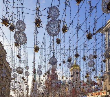 Christmas (New Year holidays) illumination on Nikolskaya Street near the Moscow Kremlin, Russia