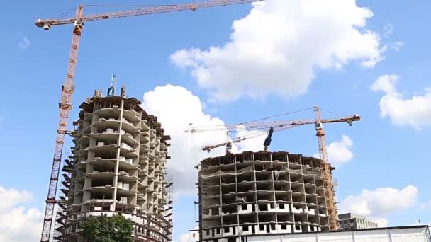 Multi-storey building under construction (new residential complex). Construction site upon renovation program in Cheryomushki district, Moscow, Russia
