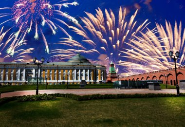 Fireworks over the Moscow Kremlin during Victory Day (WWII), Russia