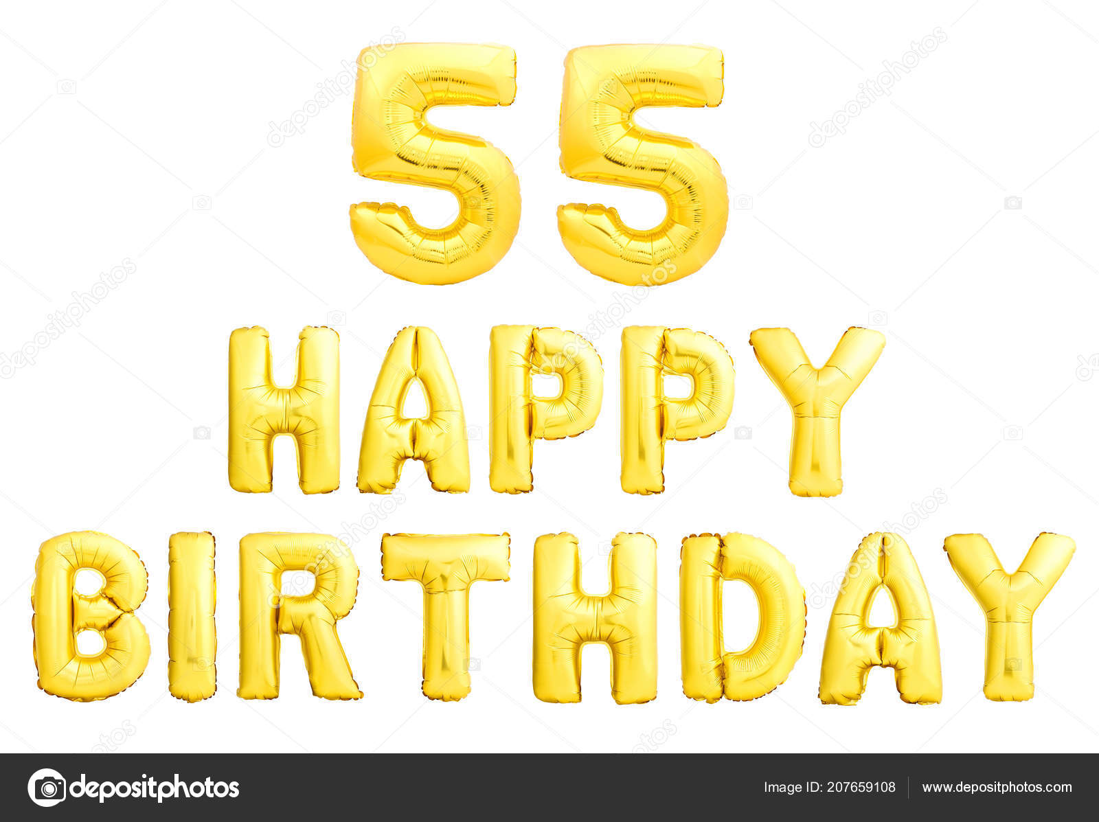 Happy Birthday 55 Years Golden Inflatable Balloons Isolated On White Background 55th Anniversary Celebration Photo By Dmitry